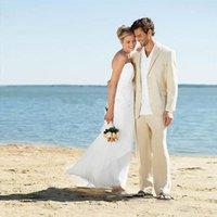 beyaz fildişi damat smokinleri toptan satış-Beyaz, Fildişi Keten Yaz Plaj Düğün Erkekler için Suits 2018 Damat Smokin Erkekler Blazers En İyi Erkek Sağdıç Balo Parti Giymek 2 Parça Ceket + Pantolon
