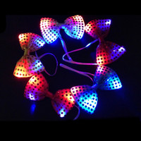 Wholesale Glow Tie - Fashion Flashing Bowknot Shape Tie Glowing In The Dark Sequins Ties Resuable LED Light Up Cravat Popular 2 8kp2 B