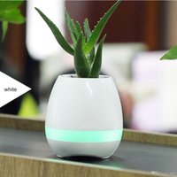 Wholesale pots phone - Bluetooth Smart Music Flower pots intelligent real plant touch play flowerpot colorful light long time play bass speaker Night light