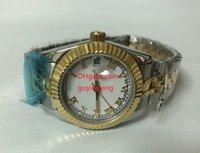 женские наручные часы оптовых-Высокое качество женские Наручные часы 26 мм 279161 сапфировое стекло белый циферблат два тона золото из нержавеющей стали браслет женщин автоматические механические часы