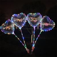 yıldız parti balonları toptan satış-Aşk Kalp Yıldız Şekil LED Bobo Balonlar Çok renkli Işıklar Parlak Noel Parti Düğün Festivali Dekorasyon Stick ile Şeffaf Balon
