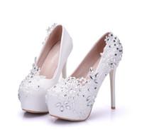 ingrosso tacchi grande fiore-Scarpe moda donna rosso bianco Pearl Lace FLOWER 14cm Scarpe col tacco alto Scarpe da sposa impermeabili tacco alto Misura grande 34-41