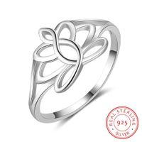 925 dame ring blume großhandel-heiße Art und Weise höhlen heraus Ring des festen Sterlingsilbers 925 des Entwurfs für junge Dame Flower Shape Rings For Girls aus