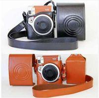 bräunende digitalkamera großhandel-Schwarz / braun pu ledertasche set für fuji fujifilm instax mini 90 digitalkamera tasche mit gurt