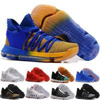 deportes de perlas al por mayor-2018 Nuevo KD 10 Zapatillas de baloncesto Hombres Hombres Homme Azul Tenis BHM 10 X 9 Elite Floral Tía Perlas Pascua Zapatos deportivos