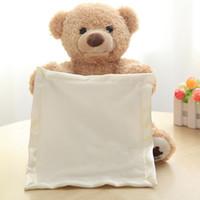 sevimli bebek teddies toptan satış-30 cm Peek a Boo Teddy Bear Oyna Saklambaç Güzel Karikatür Dolması Teddy Bear Çocuk Bebek Doğum Günü Hediyesi Sevimli Müzik Ayı Doll