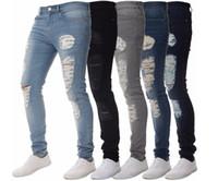 jeans de couleur masculine achat en gros de-Mens couleur unie en détresse Biker Cool Jeans Mode Slim Ripped Lavé Crayon Pantalon Jeans Homme Jeans High Street Jeans