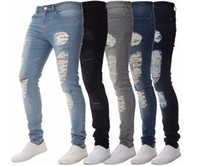 jean slim déchiré pour homme achat en gros de-Mens Solide Couleur Distressed Biker Jeans cool Fashion Slim Ripped Washed Pantalons Crayon Jeans Hommes Homme High Street Jeans