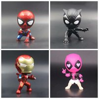 Wholesale finish design - 4 Designs 10cm Avengers Infinity War Superhero Action Figures Toys PVC Model Toys Iron Spiderman Black Panther Paty Favor CCA9729 12pcs
