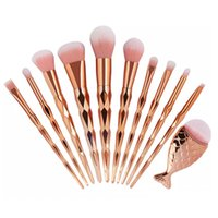 Wholesale tools direct for sale - Factory Direct DHL Free Makeup Brushes Set Eye shadow Blush Eyeliner Lip Powder Rose Gold Mermaid Tail Foundation Brush Tools