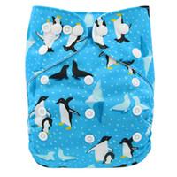 pañal transpirable al por mayor-Bolsillo del pañal de tela de gamuza Animales Impreso bolsillo del pañal lavable PUL del bebé del pañal súper cómoda y transpirable