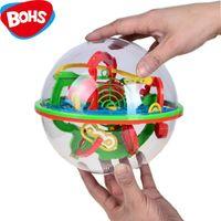 magic sphäre puzzle großhandel-BOHS 100 Schritte Kleine Große Größe 3D Labyrinth Magic Rolling Globe Ball Marmor Puzzle Würfel Gehirn Teaser Spiel Sphere Maze