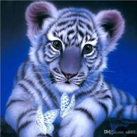 wohnzimmer gemälde zum verkauf großhandel-Stereo Mosaik Kreuzstich Bardian Tiger Runde Diamant Gemälde Für Haus Wohnzimmer Dekorative Wandmalereien Heißer Verkauf 14lx dd