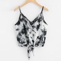 külotlu bluz toptan satış-Kadınlar Seksi V Yaka Askı Camiş Yelek Kırpma Üst Moda Yaz Eğlence Kolsuz Plaj Ilmek Baskı Blousa Gömlek Tankı Üstleri Giysileri