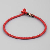 tibetische armbänder rot großhandel-Glückliche Seil-Armband-Frauen-tibetanische buddhistische Handflochten-Knoten-blaue rote Farbseil-Armband-Männer