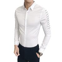 korece ince sığan erkek gömleği toptan satış-Sıcak Satış Kore Smokin Marka Tasarımcı Slim Fit Gömlek Erkekler Casual Perçinler Uzun Kollu Tüm Maç Streetwear Balo Elbise Gömlek Mens