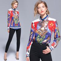 königin vintage großhandel-2018 Herbst Runway Luxus Vintage Queen Print OL Damen Damen Casual Büro Knopf vorne Revers Hals Langarm Top Shirt Bluse neue Ankunft