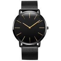 новые стильные наручные часы оптовых-Men New Relogio Couple Watches Student Couple Stylish Glass Steel Band Mesh belt Quartz Watch lovers Wristwatches
