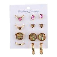 ingrosso gioielli triangolo a cerchio-8 pezzi / set set di gioielli di donne alla moda esagerato cristallo geometrica rettangolo triangolo anelli quadrati orecchini a forma di cerchio