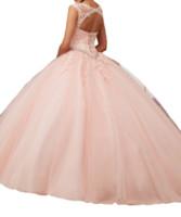 vestido multi quinceañera al por mayor-Vestidos de quinceañera 2019 Cuello rosado con diseño de red, correa posterior, tapetes de malla de red de múltiples capas, abalorios de apliques, brillante, correo barato.