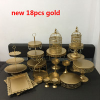 Wholesale panning gold for sale - Group buy 20pcs white gold crystal metal cake stand wedding cupcake stands cake plates pan fruit bar decoration cookie cake tools bakeware set