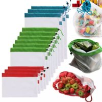 shopping bags for vegetable 2018 - Resable Mesh Vegetable Fruit Bag For Washing Shopping Grocery Shopping Rope String Shoulder Bag Hand Totes Home Storage Pouch Bags WX9-562