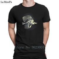 casual casual venda por atacado-Criativo Único Camiseta Homem Peixe Esqueleto T-Shirt Hiphop Top 100% Algodão Camiseta Homem Impressionante Camiseta Verão Estilo Casual