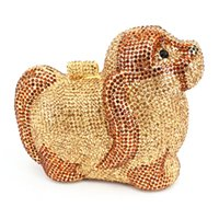 Wholesale animal shaped evening clutches resale online - Fashion Dog Design Crystal Evening Bag Women Party Chain Handbags Animal Shape Wedding Party Purse