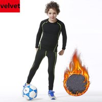 Wholesale Black Leggings Boys - Kids Winter Velvet Thicken Tights Youth Compression Sports Running Shirts Pants Basketball Football Soccer Training Leggings
