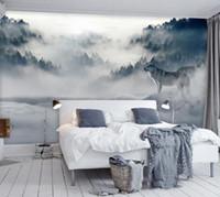floresta animais parede murais venda por atacado-Montanha nevoeiro floresta lobo animal 3d papel mural papel de parede para o quarto sofá fundo 3d parede foto murais papel de parede adesivo