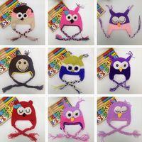 modelos coruja venda por atacado-Handmade crianças coruja modelagem cap bebê dos desenhos animados earflaps cap papagaio chapéus animal estilos dos desenhos animados chapéu t7g014