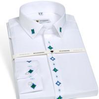 camisa do negócio do ferro venda por atacado-Homens de Manga longa Não-ferro Camisa de Vestido Slim Fit Moda de Alta Qualidade Bordado Formal Business Masculino Inteligente Casual Camisa Branca