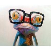 aceite de rana al por mayor-Número pintura al óleo sin marco gafas rana lino animal imagen Puro dibujo a mano lienzo pinturas 13zc gg