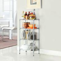 Wholesale rack shelves - 4 Tier Shelves Wire Shelving Rack Shelf Adjustable Unit Garage Kitchen Storage