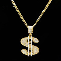 Wholesale dollar chain gold plated resale online - Street Hiphop Gold Plated Filled Shining Crystal American Dollar Long Chain Pendant Necklace for Men Women