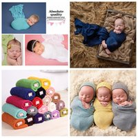 Wholesale newborn photography backdrop wholesale online - 40 cm Stretch Knit Wrap Newborn Photography Props Baby Blankets Background Photo Backdrops Easter Infant Soft Blanket AAA982
