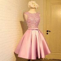 Wholesale Cheap Womens T Shirts - Cheap Light Pink Short Prom Dress with Appliques Sleeveless Womens Formal Dresses Party Evening Vestidos de festa Open Back Custom Made
