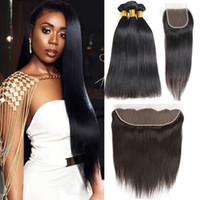 Raw Virgin Indian Straight Hair Wefts with Closure 8A Unprocessed Brazilian Body Wave Human Hair Bundles with Frontal Deep Water Wave Kinky