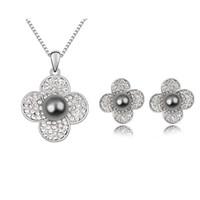 boucle d'oreille mère perle fleur achat en gros de-Ensembles de bijoux de perles de mariage micro pavées avec collier en cristal à la mode en cristal et boucles d'oreilles pour la fête des mères