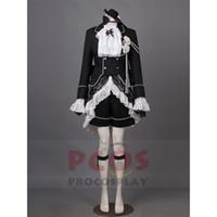 siyah kahya ciel kostümleri toptan satış-Procosplay EN IYI Siyah Butler Ciel Phantomhive Kraliçe Victoria Cosplay Kostüm Göz Maskesi Şapka mp003378
