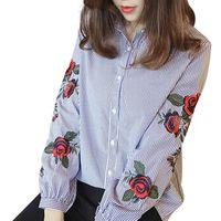 blusa rosa mulheres venda por atacado-Rose Floral Bordado Listrado Blusa Mulheres Camisa de Manga Longa Algodão Casual Blusa Plus Size kimono Tops Senhora Do Escritório Blusas 2018