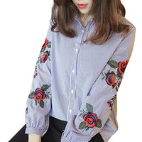 Wholesale Ladies Office Blouse Xl - Rose Floral Embroidery Striped Blouse Women Long Sleeve Shirt Casual Cotton Blusa Plus Size kimono Tops Office Lady Blusas 2018