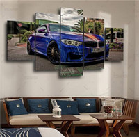 Wholesale Home Wall Art Decor Frame Pictures Art HD Modern Panel Scenery BMW Painting Printed On Canvas Blue Sports Car Poster
