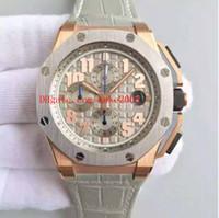 en iyi deri saat bantları toptan satış-Lüks En İyi Baskı Fabrika 44mm 18 k Rose Gold 26210OI.OO.A109CR.01 Deri Bantları İsviçre CAL.3126 Hareketi Otomatik Mens Watch Saatler