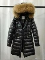 зимняя одежда женская оптовых-Марка зимние женские куртки черный 95% Белый утка вниз пальто с меховым воротником енота с капюшоном белый красный женский мыслитель одежда продажа