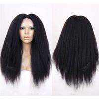 Wholesale light yaki full lace wigs - 180 Density Kinky Straight Full Lace Wig Silk Top 4.5X5 Malaysian Human Hair Yaki Silk Base Glueless Lace Front Wigs Natural Hairline