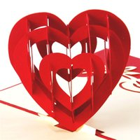 """Wholesale Origami 3d Cards - """"I Love You"""" Red Heart Design Handmade Creative Kirigami & Origami 3D Pop UP Greeting & Gift Cards Free Shipping"""