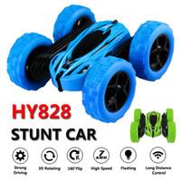 voiture rc 24 achat en gros de-HY828 voitures télécommandées Stunt Rc voiture haute vitesse clignotant 3D Flip vert bleu Carro Controle Remoto jouets pour enfants