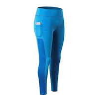 chicas corriendo pantalones al por mayor-Sexy Yoga Pants Women Sports Panty Trousers con Pocket Girls cintura alta Slim Quickly Dry Leggings de fitness 37yd Ww