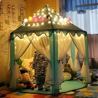 Wholesale Child Princess Tent - Portable Princess Castle Play Tent With Led Light Children Activity Fairy House kids Funny Indoor Outdoor Playhouse playing Toy